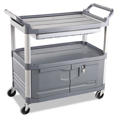 4094 Instrument Cart with Lockable Doors and Sliding Drawers - Grey