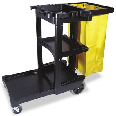 Rubbermaid 6173-88 Janitor Cart 3-Shelf - Black