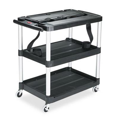 """Rubbermaid 9T28 Media Cart 3-Shelf, 32"""" Tall - Black"""