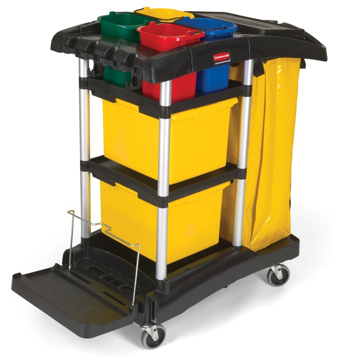 Rubbermaid 9T74 Janitor Microfiber Cart with Color-Coded Pails - Black