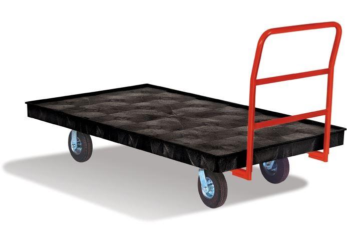 "Rubbermaid 9T21 Platform Truck, Crossbar Handle, 8"" Polyolefin Casters - Black"