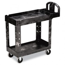 Rubbermaid 4500-88 HD 2-Shelf Utility Cart w/Lipped Shelf (Small) - Black