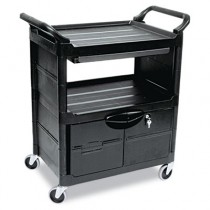 Rubbermaid 3457 Utility Cart w/Locking Doors 2-Shelf