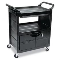 Rubbermaid 3457 Utility Cart w/Locking Doors 2-Shelf
