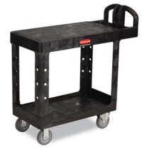 Rubbermaid 4505 Flat Shelf Utility Cart 2-Shelf - Black