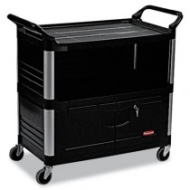 Rubbermaid 4095 Equipment Cart 3-Shelf - Black