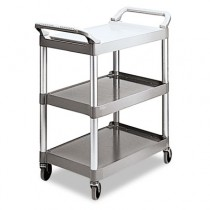 Rubbermaid 3424-88 Utility Cart 3-Shelf - Platinum