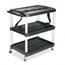 "Rubbermaid 9T28 Media Cart 3-Shelf, 32"" Tall - Black"