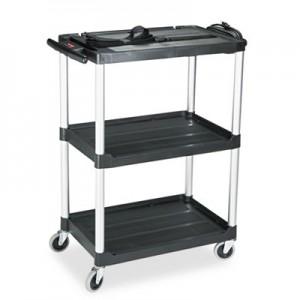 """Rubbermaid 9T30 Media Cart 2-Shelf, 42"""" Tall - Black"""