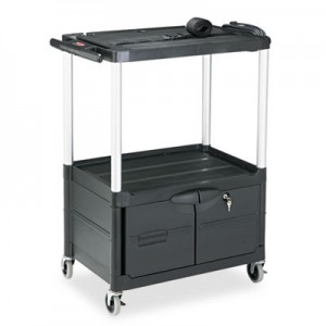 """Rubbermaid 9T32 Media Cart 2-Shelf with Cabinet, 42"""" Tall - Black"""