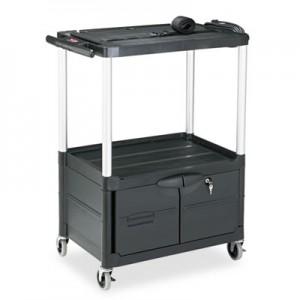 """Rubbermaid 9T33 Media 3-Shelf Cart, 48"""" Tall - Black"""